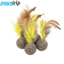 pawstrip 1pc Catnip Toys Soft Feather Cat Toy Ball Treats Interactive Kitten gato katten speelgoed