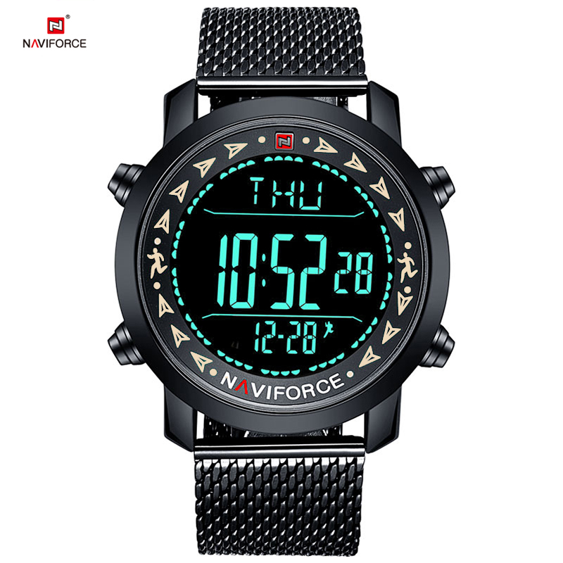 2018 NAVIFORCE Brand Men Fashion Sport Watches Full Steel Strap Waterproof Watch LED display Digital Wristwatch Male Clock+box