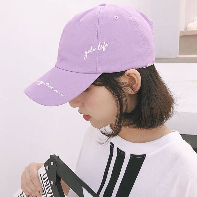 7103ef8d974 Summer Womens Baseball Hats Korean Ulzzang Harajuku Embroidery Fresh  Letters Purple Snapback Cap Girls Casual Lovely