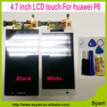 100% genuino 4.7 ''Blanco/Negro/Rosa Para Huawei Ascend P6 LCD Display + Touch Screen + Digitalizador Montaje de vidrio