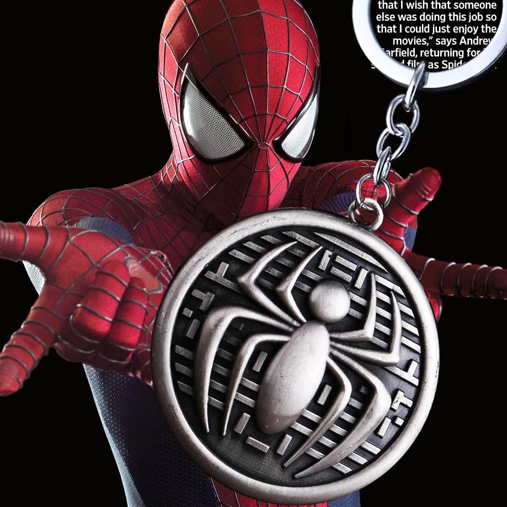 MS JEWELS Comics Spiderman Spider Shape Round Key Chains Quality Jewelry Keychains Key Ring