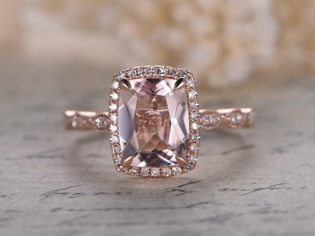Myray 7x9mm Cushion Cut Natural Pink Morganite Diamond Halo Engagement Ring 14k Rose Gold Vintage Wedding