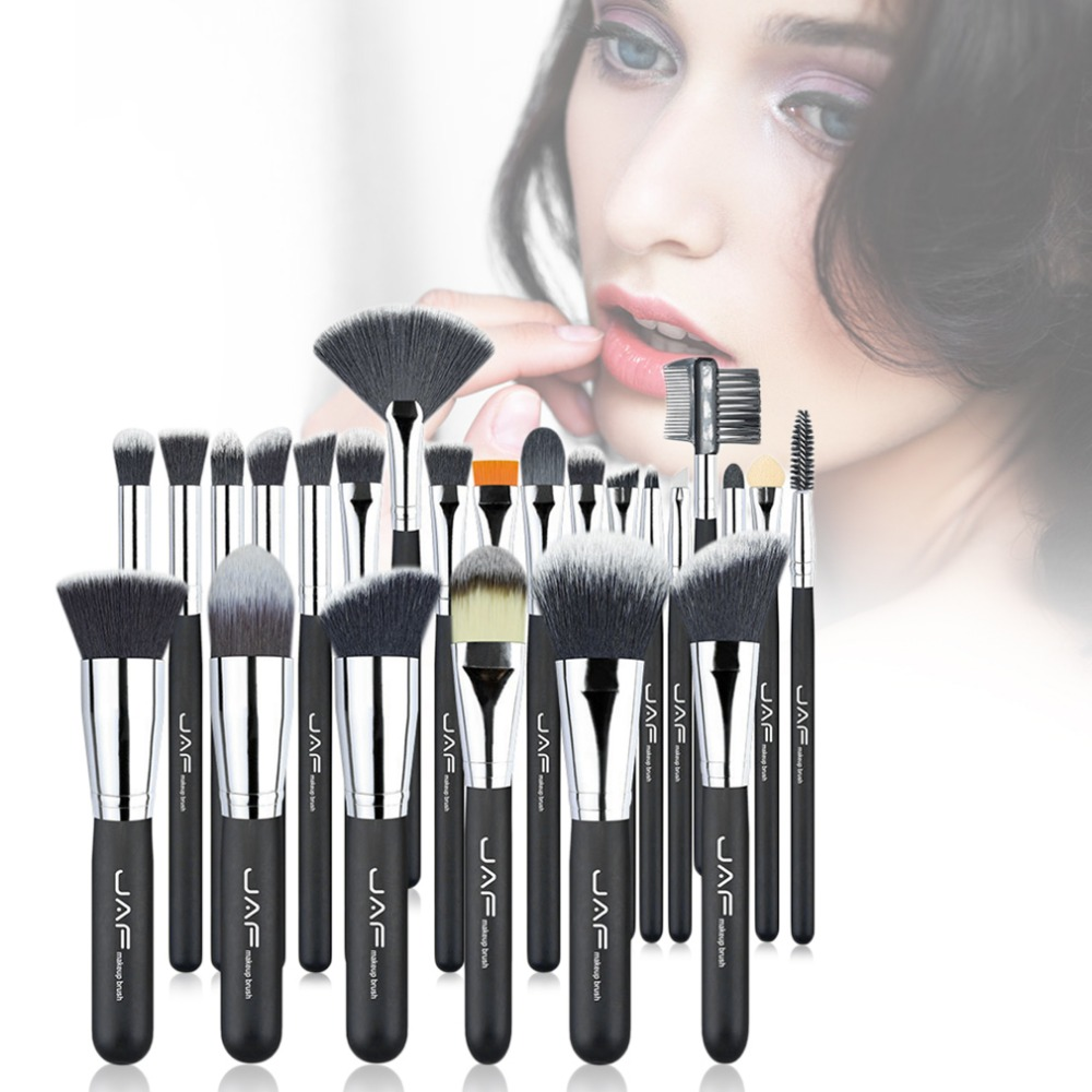 24pcs/set Professional Women Facial Makeup Brushes Wooden Handle Facial Cosmetic Makeup Soft Synthetic Hair Brushes