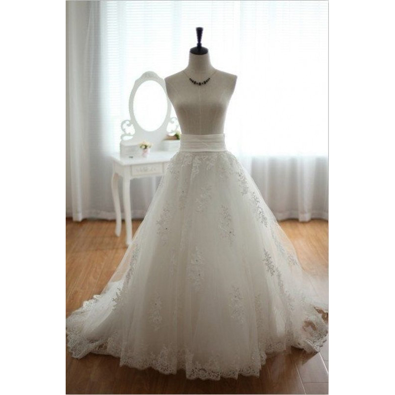 Custom Made Wedding Skirt Wide Waistline A Line Floor Length Maxi Skirt Applique Lace White Tulle Long Skirts Women