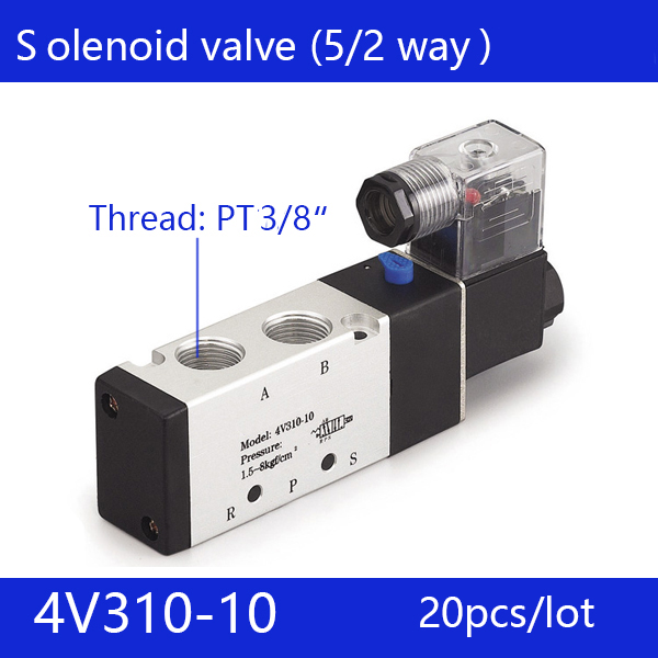 20pcs free shipping good qualty 5 port 2 position Solenoid Valve 4V310-10,have DC24v,DC12V,AC24V,AC110V,AC220V high quality ac 220v 4v310 10 2 position 5 way air solenoid valve free shipping
