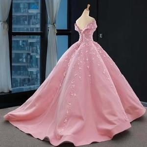 Image 2 - J66590 jancember אפליקציות ורוד מתוקה Quinceanera שמלות 2020 כבוי כתף כדור שמלות קצר שרוול