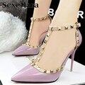 2016 Насосы Летом стиль моды женские сандалии заклепки Металлические украшения пу кожа Южной Кореи стиль женщины на высоких каблуках JY06