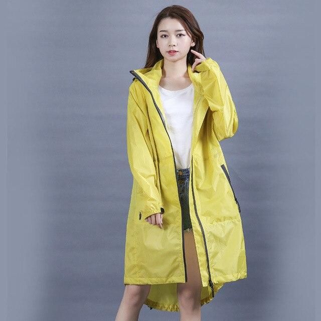 Длинный водонепроницаемый желтый дождевик женский дождевик с капюшоном Пончо Куртка непромокаемый дождевик дамский плащ ветровка дождевик 40A0063