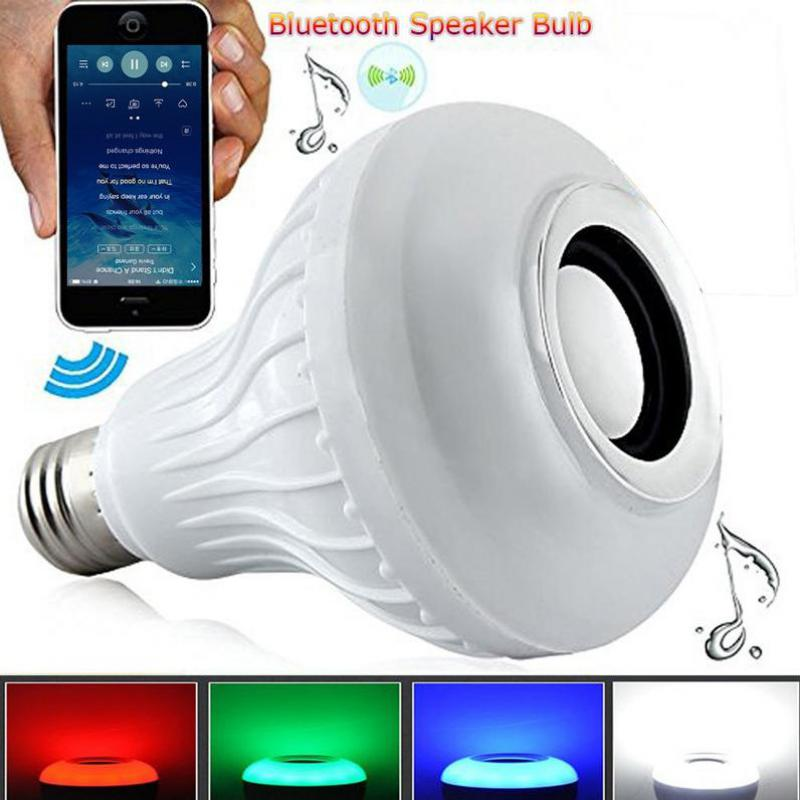 Smart RGB 12W Bulb Wireless Bluetooth Speaker Bulb Dimmable Led Light Lamp Music Playing Control With APP Remote rgb 10w led bulb e27 e14 ac85 265v led lamp with remote control led lighting multiple colour