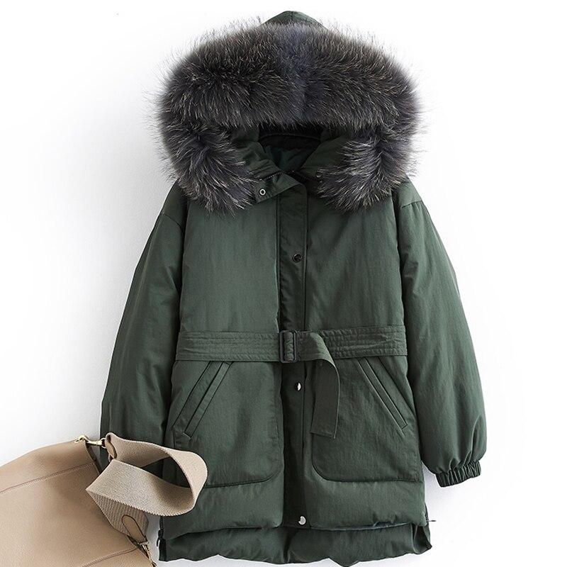 Real Raccoon Fur Parka Women Down Jacket Winter Thick White Duck Down Coats 2019 New Arrival Tied Waist Winter Jacket Women