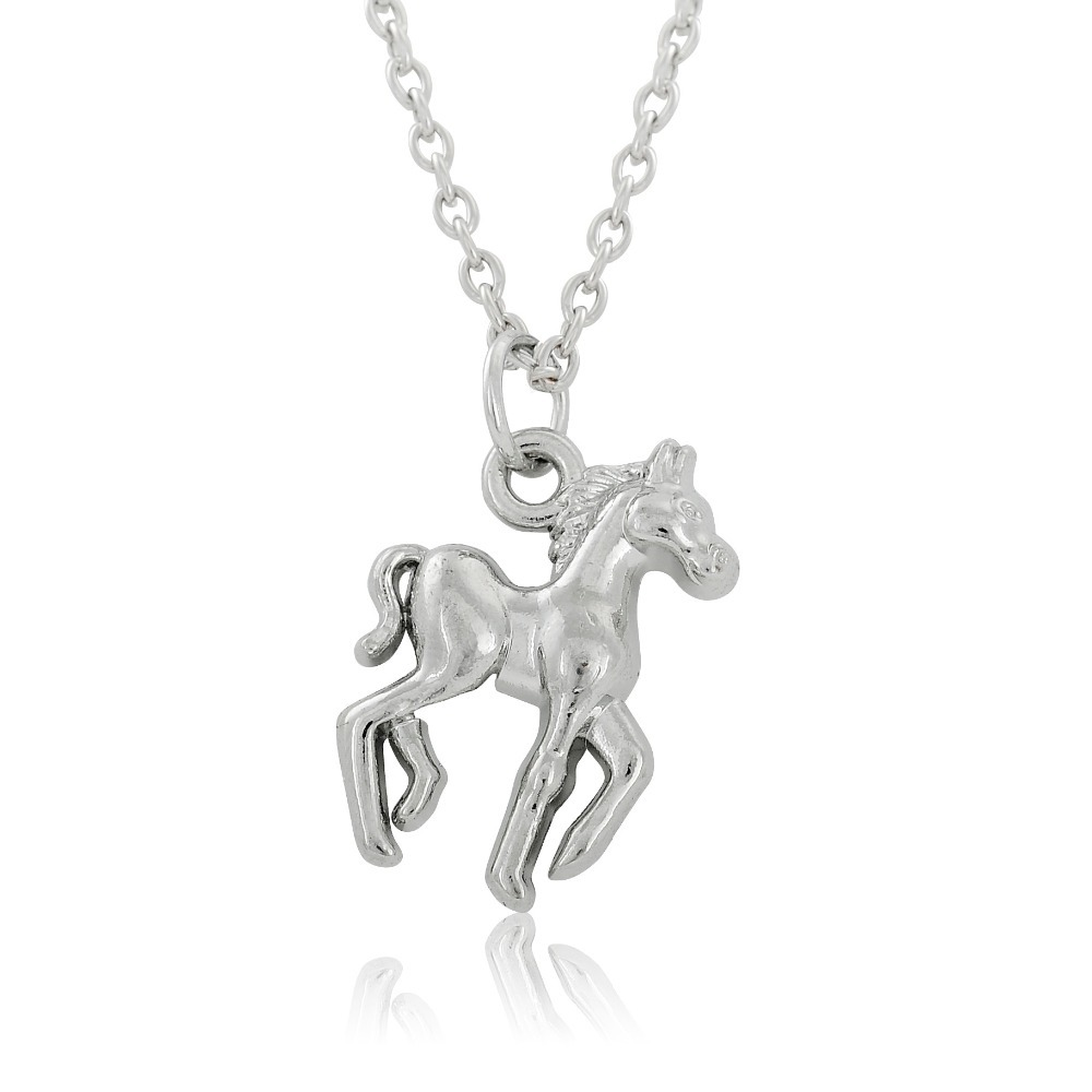 93e3f329832d Níquel plateado rodio lindo colgante de collar de caballo para niño pequeño