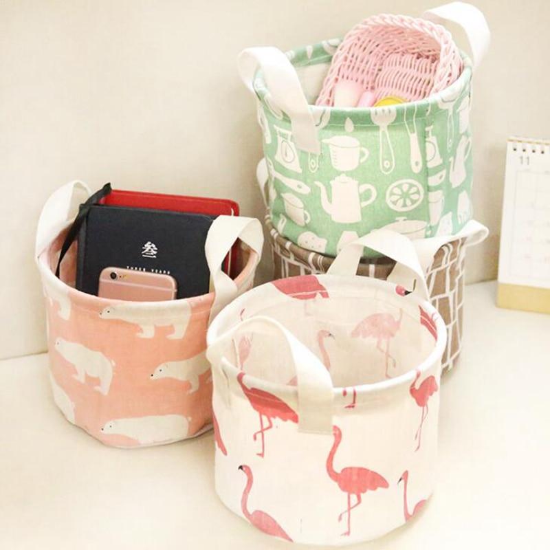 Women Cosmetic Bag Cartoon Animal Flamingo Linen Organizer Box Case Makeup Bag Portable Travel Toiletry Make Up Wash Kit Case flamingo linen placement