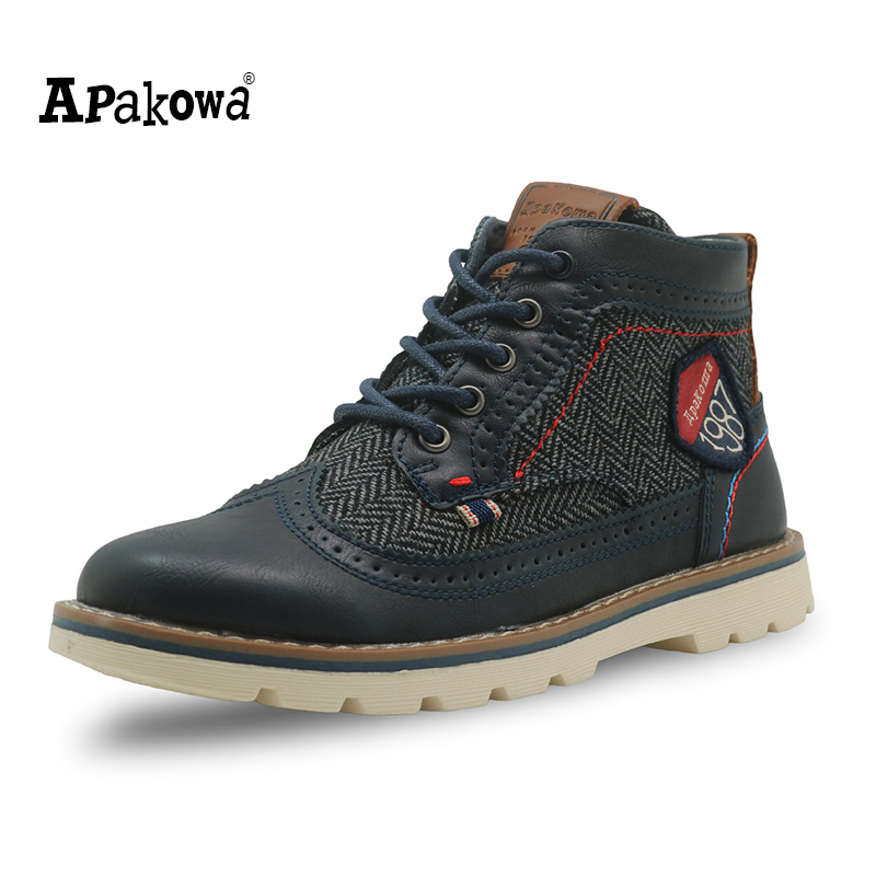 Apakowa Autumn Kids Shoes Pu Leather Boys Boots with Arch Support Ankle Children's Martin Boots Patched Flat Boys Shoes EU 31-36 apakowa autumn spring winter toddler boys martin boots with zipper kids fashion ankle boots for boys kid shoes with arch support