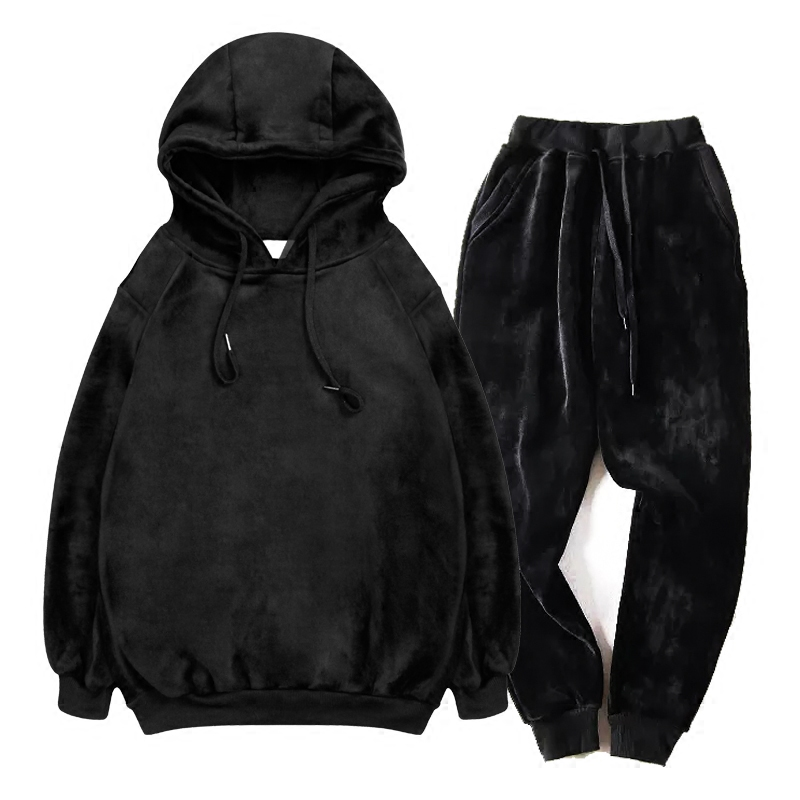 New Fashion Mens Winter Velvet Warm Sweatsuit Black Hoodie Sweatshirts+Sweatpants Sets Suit Casual Tracksuit Large Size S-5XL