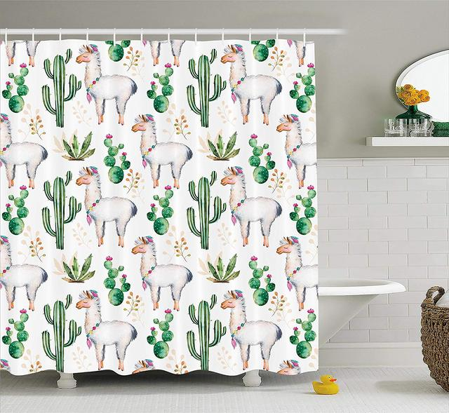 Cactus Shower Curtain Hot South Desert Plant Pattern With Camel Animal Modern Colored Image Fabric
