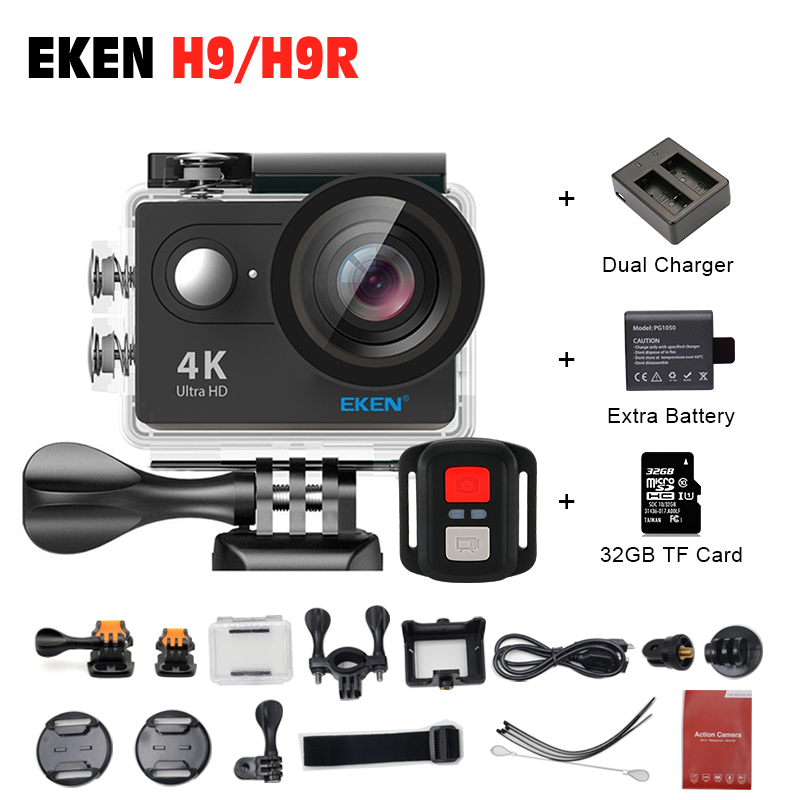EKEN H9R H9 Action Camera 4K Wifi Viewing angle 170 Degrees 2.0 LCD 30M go Waterproof pro Sports Camera with  Remote Controller original eken action camera eken h9r h9 ultra hd 4k wifi remote control sports video camcorder dvr dv go waterproof pro camera