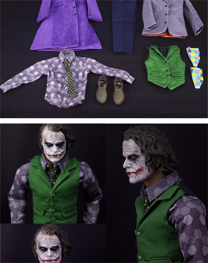 1/6 Joker The Dark Knig Batman Villain Purple Clothes Sets Models For 12 Inches Action Figure Toys Without head & body hot wheels batman 3 pack cars includes bone shaker special the joker edition the dark knight batmobile and ford fusion
