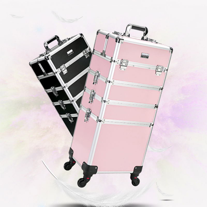 Women s multi layer professional trolley cosmetic case portable makeup rolling luggage nail art tattoo beauty