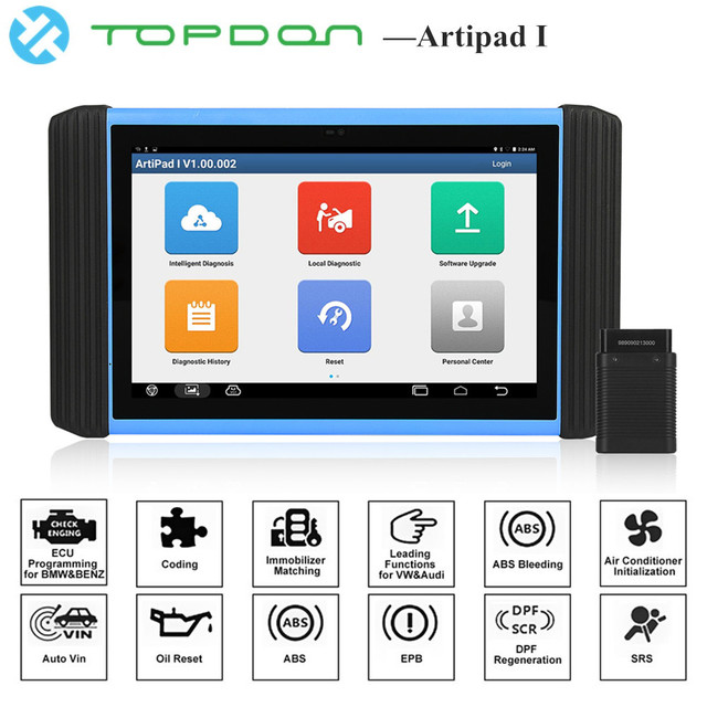 Best Price TOPDON Artipad I OBD2 Diagnostic Tool ECU Key Programmer Official Website Programming Software Engine Analyzer pk Launch X431