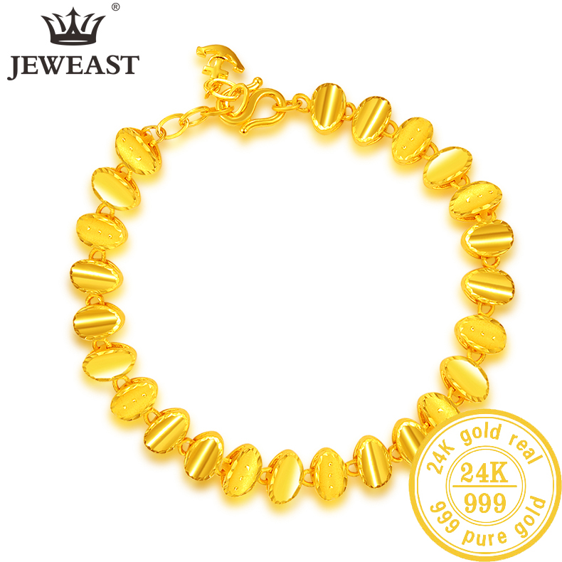 YBF 24K Pure Gold Bracelet Real 999 Solid Gold Bangle Upscale Beautiful  Romantic Trendy Classic Jewelry Hot Sell New 2020