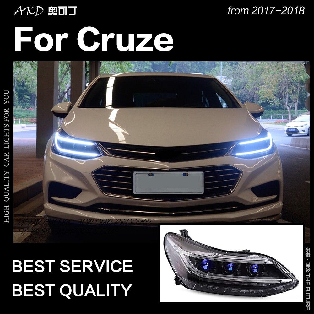 AKD Car Styling Cabeça Faróis de Lâmpada para Chevrolet Cruze 2017-2018 Todos Os Novos Cruze LED DRL Farol Hid Bi xenon Auto Acessórios