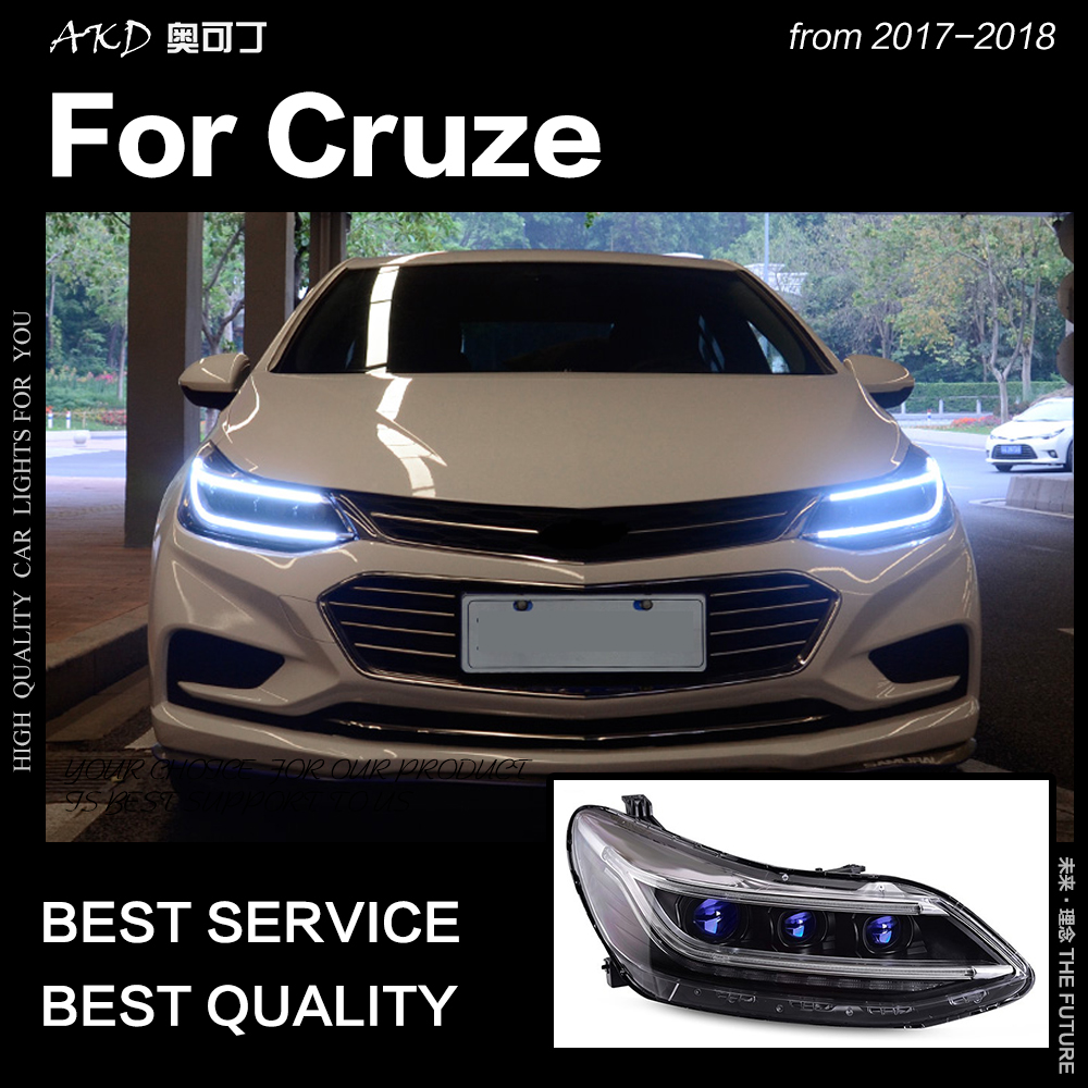 AKD Car Styling Head Lamp for Chevrolet Cruze Headlights 2017 2018 All New Cruze LED Headlight
