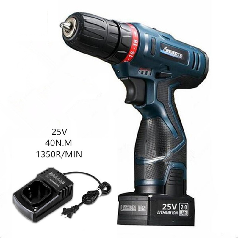 25V lithium battery multi-function home electric screwdriver cordless drill wall charging hand electric drill driver power tools 12v 16 8v 25v hand manual cordless