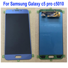 Orijinal En Iyi AMOLED lcd ekran dokunmatik ekran digitizer Cam Meclisi Sensörü Samsung Galaxy C5 Pro C5Pro C5010 Telefon Parçaları
