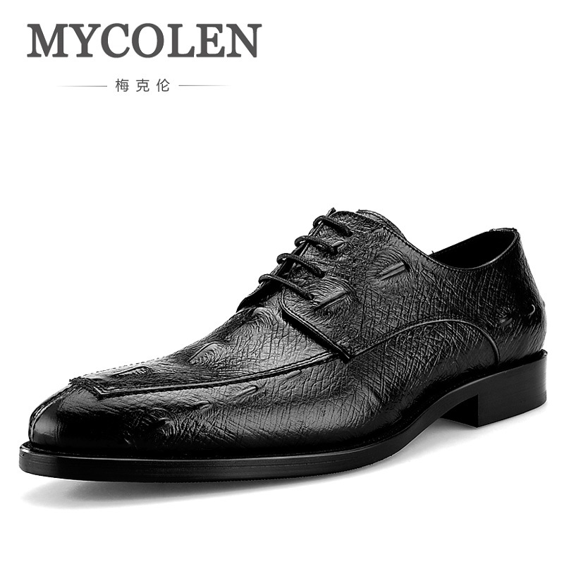 MYCOLEN New Design Real Crocodile Grain Leather Mens Formal Business Shoe Men Dress Breathable Shoes Chaussure Cuir Homme branded men s penny loafes casual men s full grain leather emboss crocodile boat shoes slip on breathable moccasin driving shoes