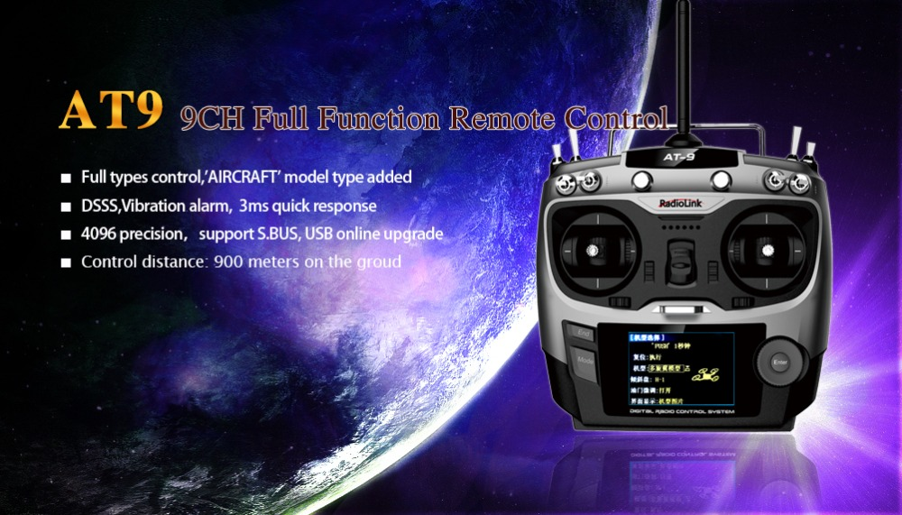 Original radiolink AT9 remote controller 2.4g 9CH radio AT9 Transmitter & R9S Receiver TM002 with LCD for DIY FPV RC quadcopter хай хэт и контроллер для электронной ударной установки roland fd 9 hi hat controller pedal