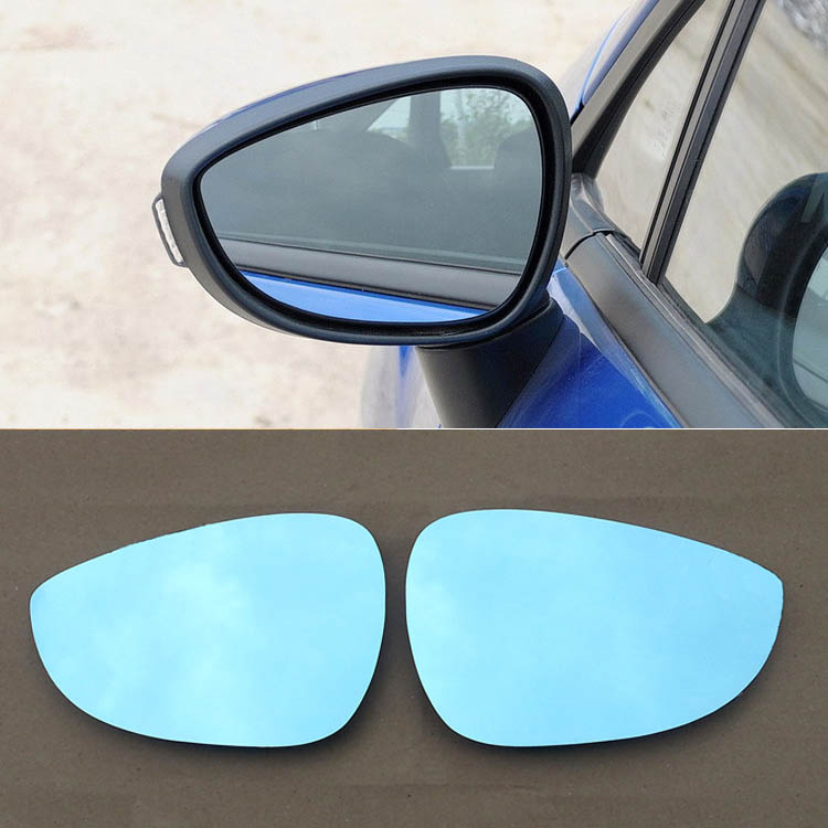 Ipoboo 2pcs New Power Heated w/Turn Signal Side View Mirror Blue Glasses For Ford Fiesta