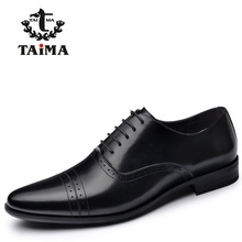 New Arrival Genuine Leather Men Dress Shoes Classic Black Business Casual Men Oxfords Gentleman Shoes Brand TAIMA  40-45