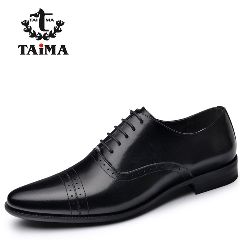 TAIMA brand New Arrival Genuine Leather Men Dress Shoes Business Casual Men Oxfords Gentleman Shoes 40-45 cbjsho brand men shoes 2017 new genuine leather moccasins comfortable men loafers luxury men s flats men casual shoes