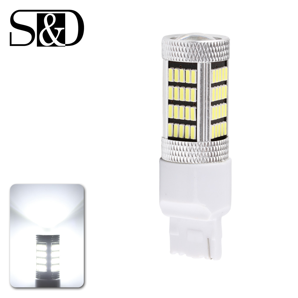 S&D Super Bright T20 W21W 7440 WY21W LED Car Backup Reversing Light Brake Bulbs DRL 92SMD 4014 Chips White High Power D050 update 12w super bright canbus cree r5 led backup light t20 7440 w21w 360 lighting car lights no error