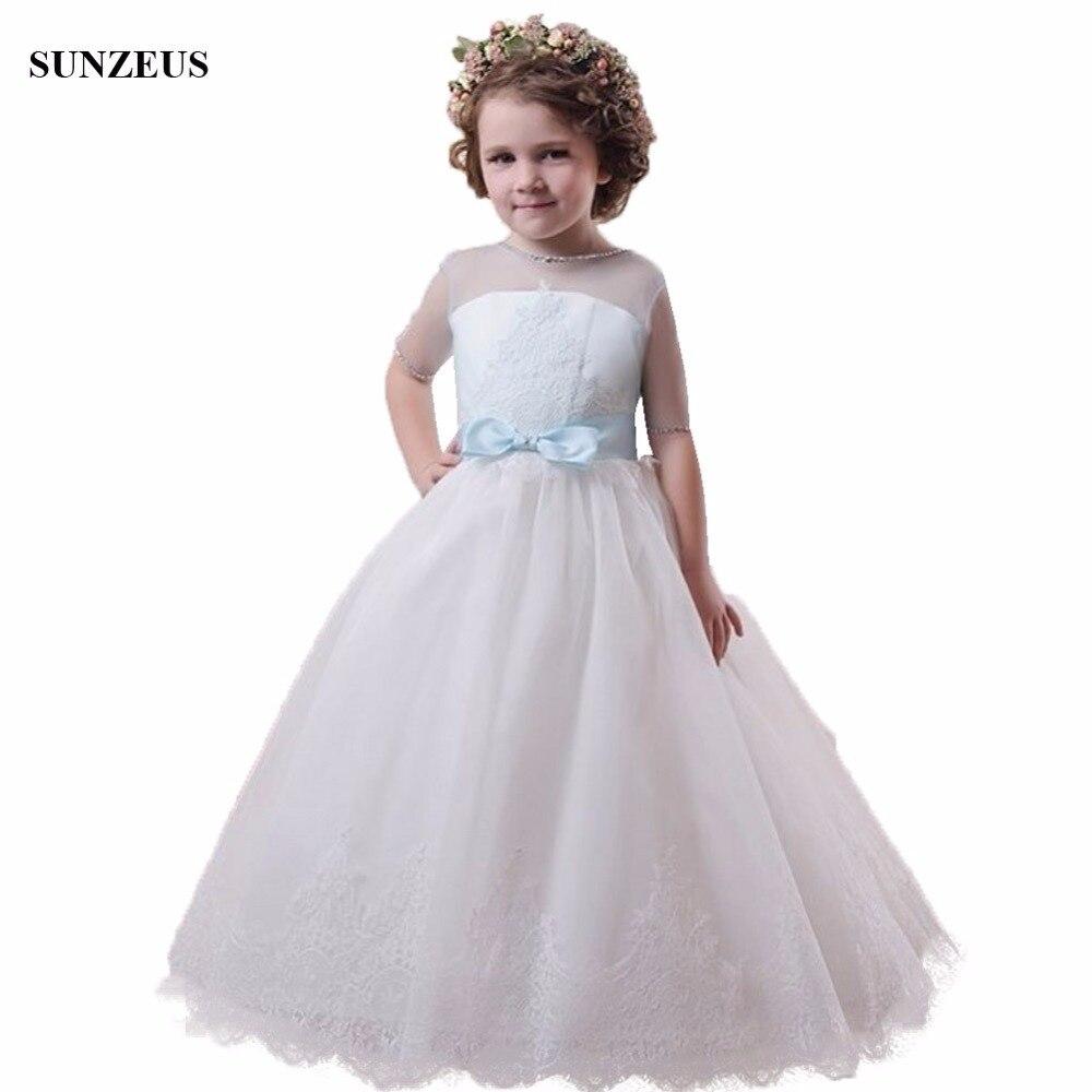 Vestido Daminha A-line Illusion Neck Half Sleeves   Flower     Girl     Dress   Puffy Ivory Tulle Long Kids Wedding Party   Dress   Bow FLG080
