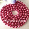 Noble rosa shell ronda de perlas de imitación 8mm encanto diy clásico collar de cadena larga mujeres la joyería 36 pulgadas MY3347