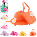Sweet Baby Kids Girls Cap Straw Flower Summer Sun Hat & Child Summer Beach Bag Handbag Suit