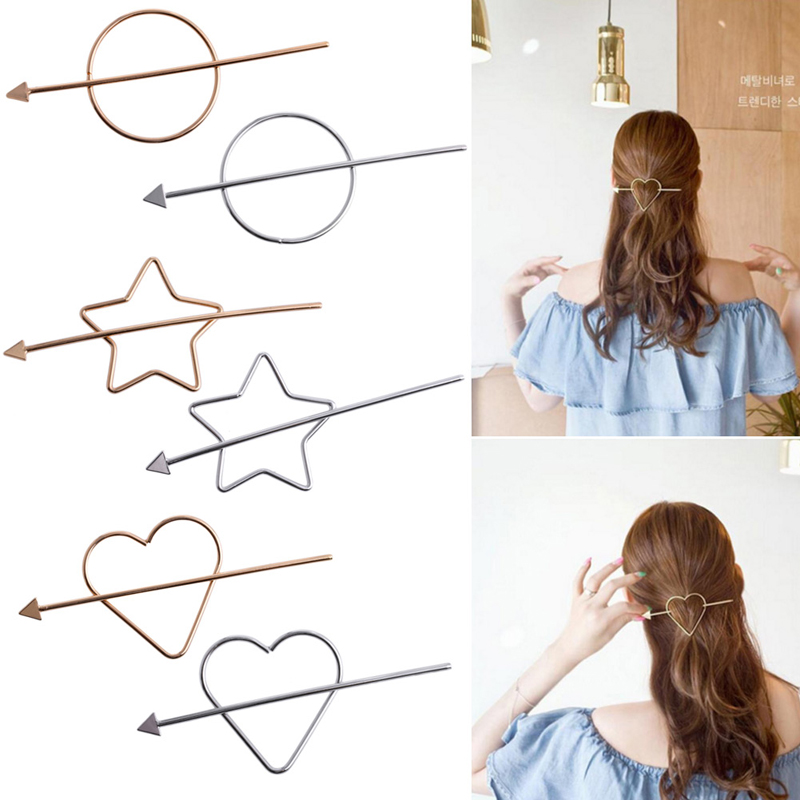 Women Hair Accessories Simple Geometric Round Gold grey Hairpins Hair Pin Stick
