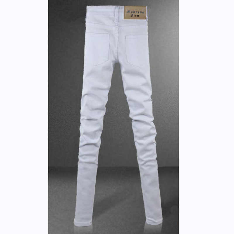 dafe89ab1e ... Funky Mens Fashion Skinny Jeans Pencil Pants Elastic Washed Faded Slim  Fit Brand Clothing White Jeans ...