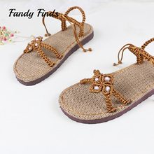 ФОТО hot sale women sandals beach casual beads simple sexy women hand-woven flax summer outwear high quality hand knitted sandals