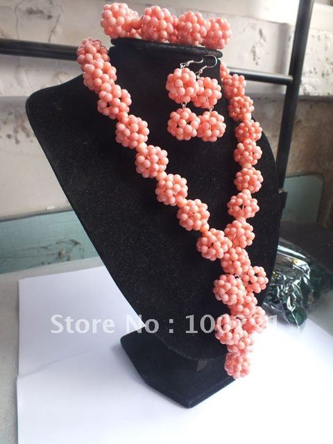 Free ship!!!Amazing!!!ball bead pink Coral Necklace Bracelet Earring Set African Wedding Coral Jewelry Set
