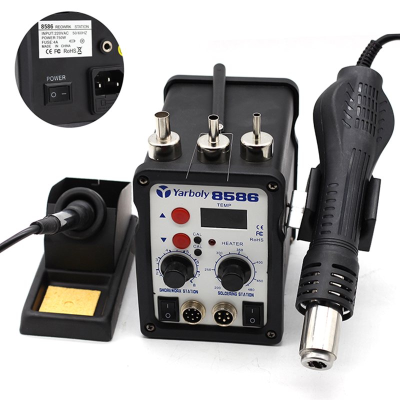 220V/110V 700W Soldering Station 8586 2 in 1 SMD Rework Station Hot Air Blower Heat Gun Hot Air Gun + Electric Solder iron heat gun hot air gun handle for youyue 858 858d 8586 rework soldering station hot air gun 8 holes