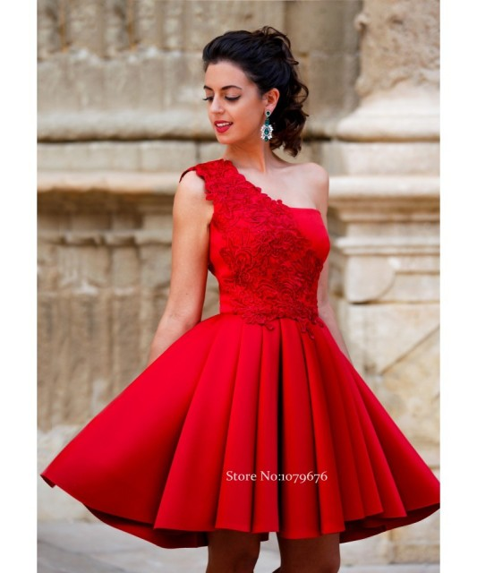8db25278d New Arrival 2016 Cheap Short Formal Party Gowns One Shoulder Red ...