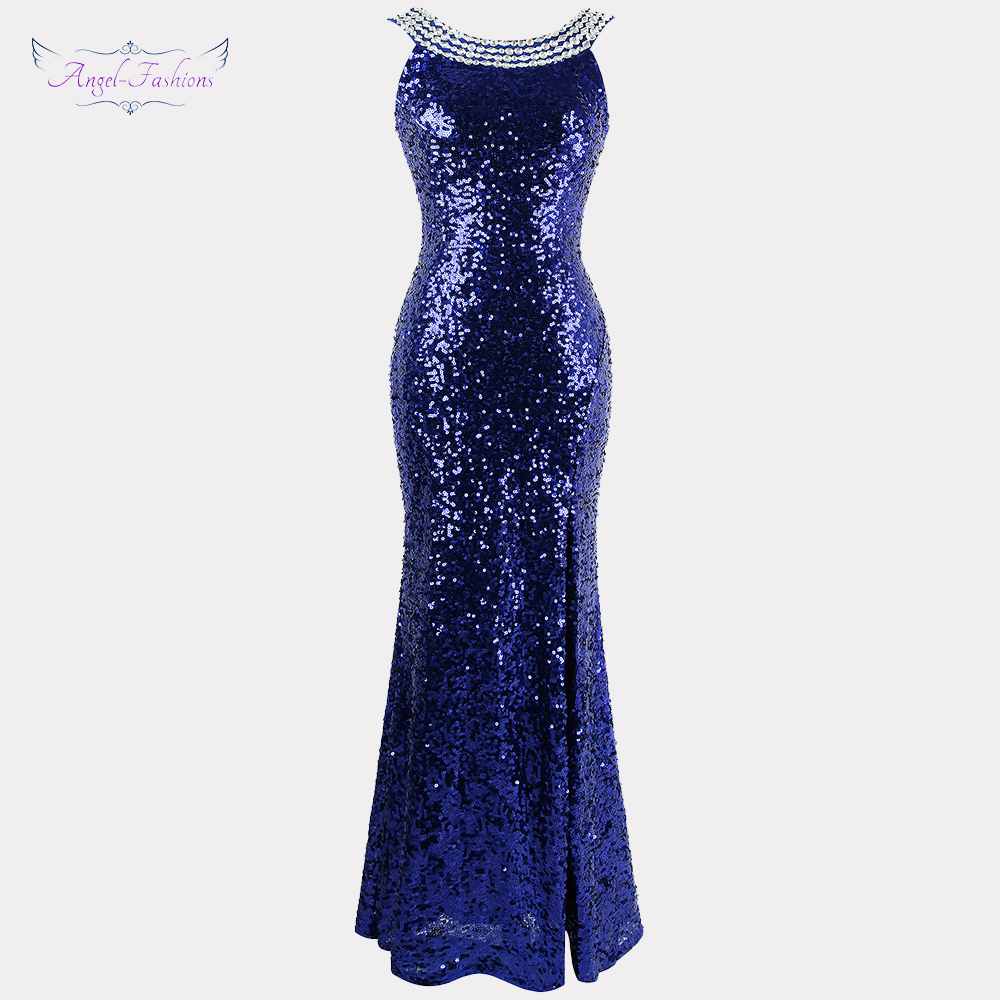 Angel-fashions Beading Vintage 1920S Sequin Masque Costume Ball Prom Dresses Golden Blue 090