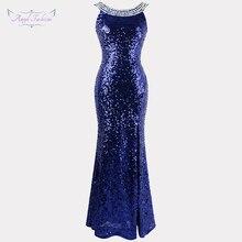Engel fashions Perlen Vintage 1920S Pailletten Masque Kostüm Ball Prom Kleider Goldene Blau 090