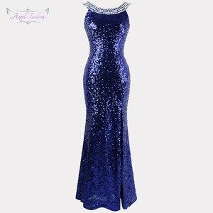 Image 1 - Engel fashions Perlen Vintage 1920S Pailletten Masque Kostüm Ball Prom Kleider Goldene Blau 090