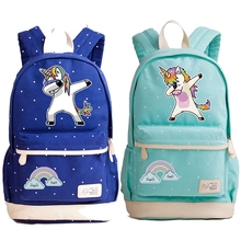 New Arrival Cute Unicorn Dab Cartoon Backpack For Women Girls Canvas Bag Rucksacks Travel Shoulder Bag School Bags For Teenagers