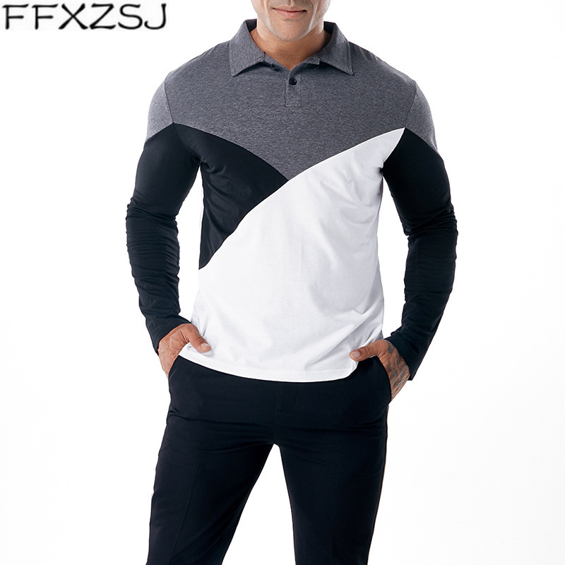 Autumn Long Sleeve Patchwork Casual Men   polo   Shirt Fashion Streetwear Top Tees Turn Down Collar Male   polo   Shirts Dropshipping