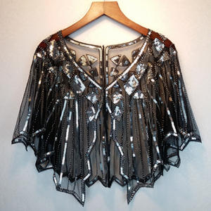 Women Embroidery Fringe Shawl Party Beaded Cape Scarf Wraps