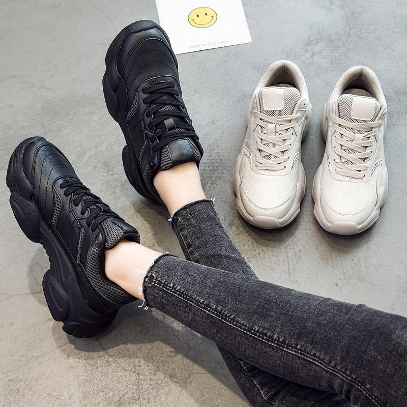aliexpress attractivefashion hot-seeling original RASMEUP Leather Mesh Women's Chunky Sneakers White Fashion Women Lace-up  Platform Black Sneaker 2018 Thick Soled Woman Shoes